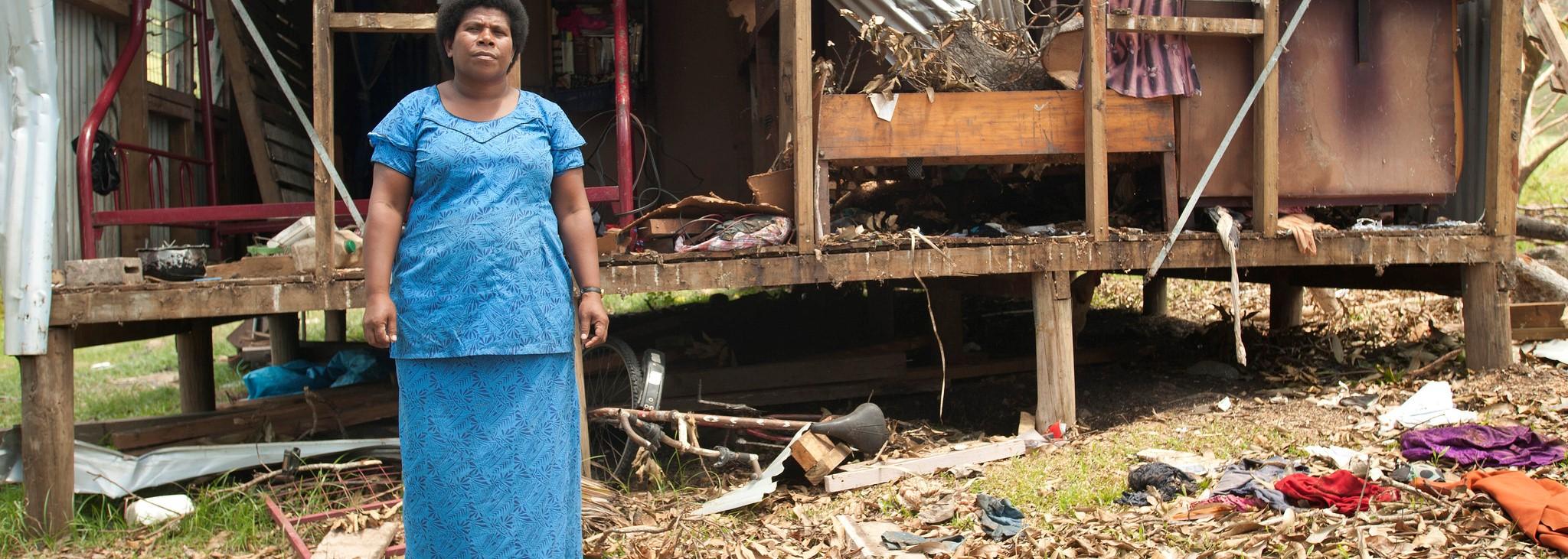 Fijian woman Salote Tubuna after Cyclone Winston hit last year in Buka Settlement, Rakiraki. (Photo: Flickr/UN Women)