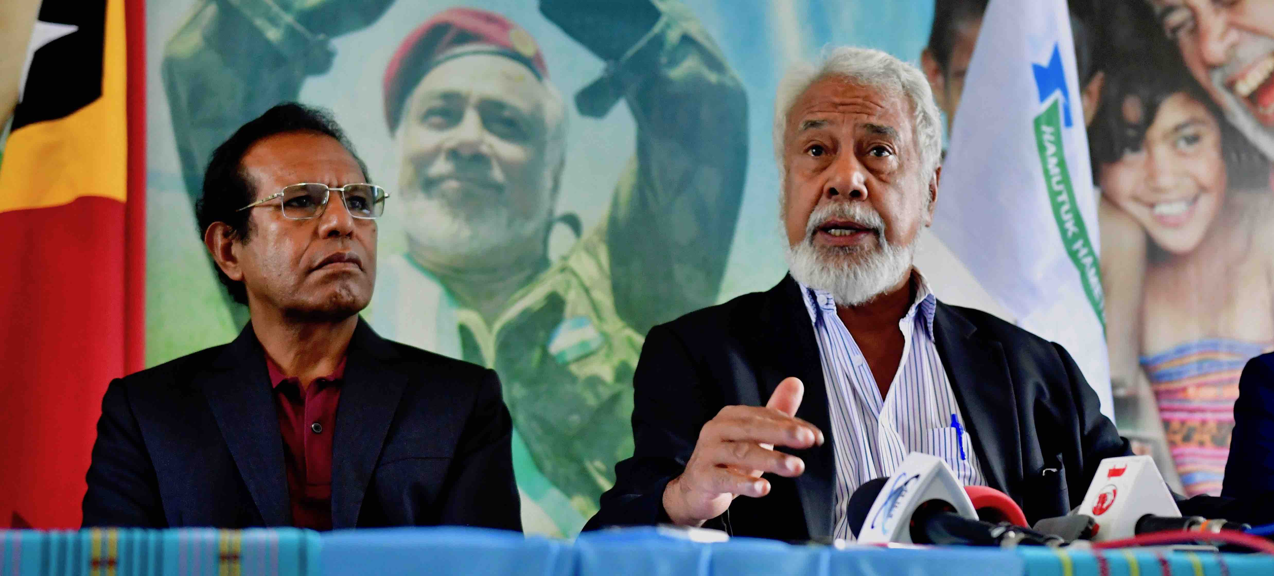 AMP coalition leaders Taur Matan Ruak and Xanana Gusmão in Dili on 15 May (Photo: Simon Roughneen)