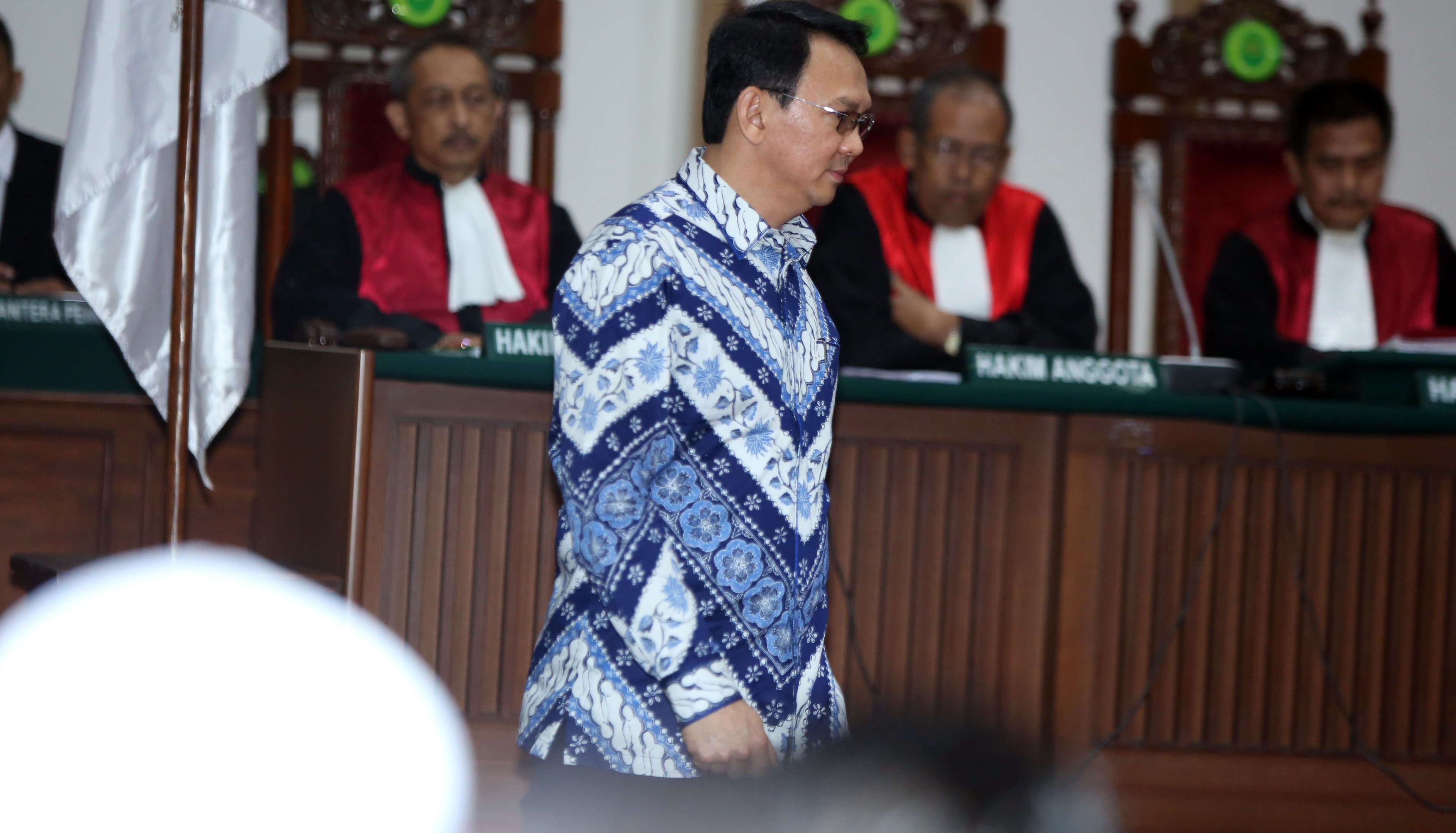 Governor Ahok arrives at a Jakarta courtroom for his verdict and sentence in his blasphemy trial. (Getty/Barcroft Media)