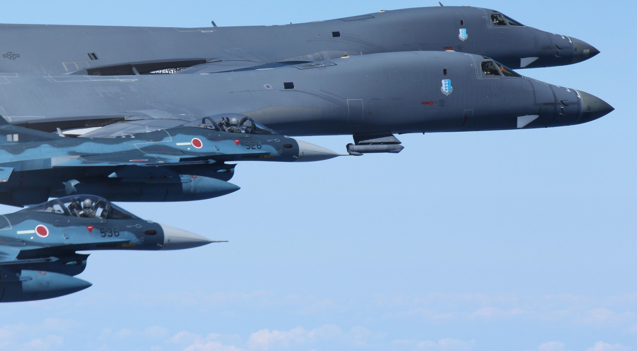US Air Force B1-B Lancer bombers over the Pacific. (Flickr/Airman Magazine.)
