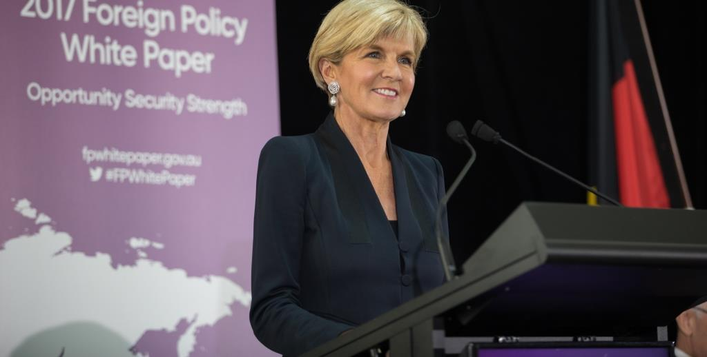 Foreign Minister Julie Bishop at the Foreign Policy White Paper launch. (DFAT)