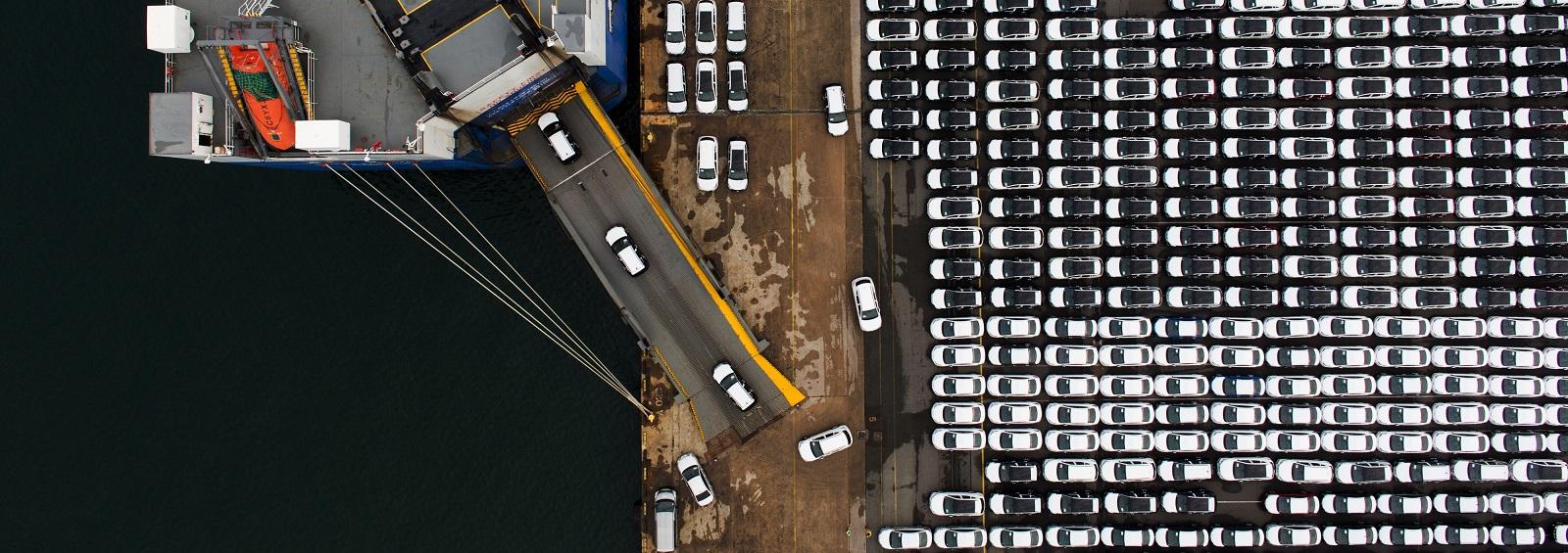 Hyundai Motor vehicles are driven into a cargo ship at a port in Ulsan, South Korea. (Photo: SeongJoon Cho/Getty Images)