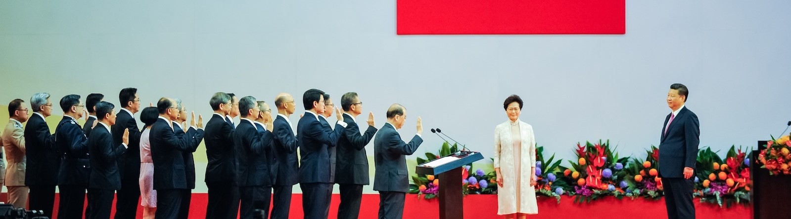 Hong Kong Chief Executive Carrie Lam and cabinet are sworn in by Chinese President Xi Jinping in Hong Kong in 2017 (Photo: Keith Tsuji/Getty)