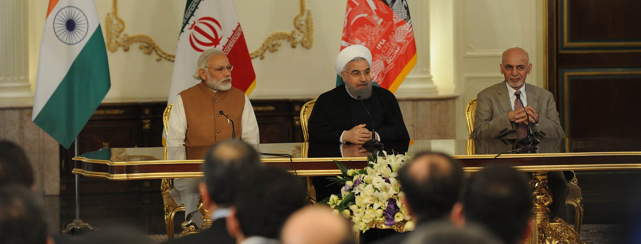 Indian Prime Minister Modi, Iranian President Rouhani and Afghanistan President Ghani at the tripartite agreement signing, May 2016 (Photo: Flickr/MEAphotography)