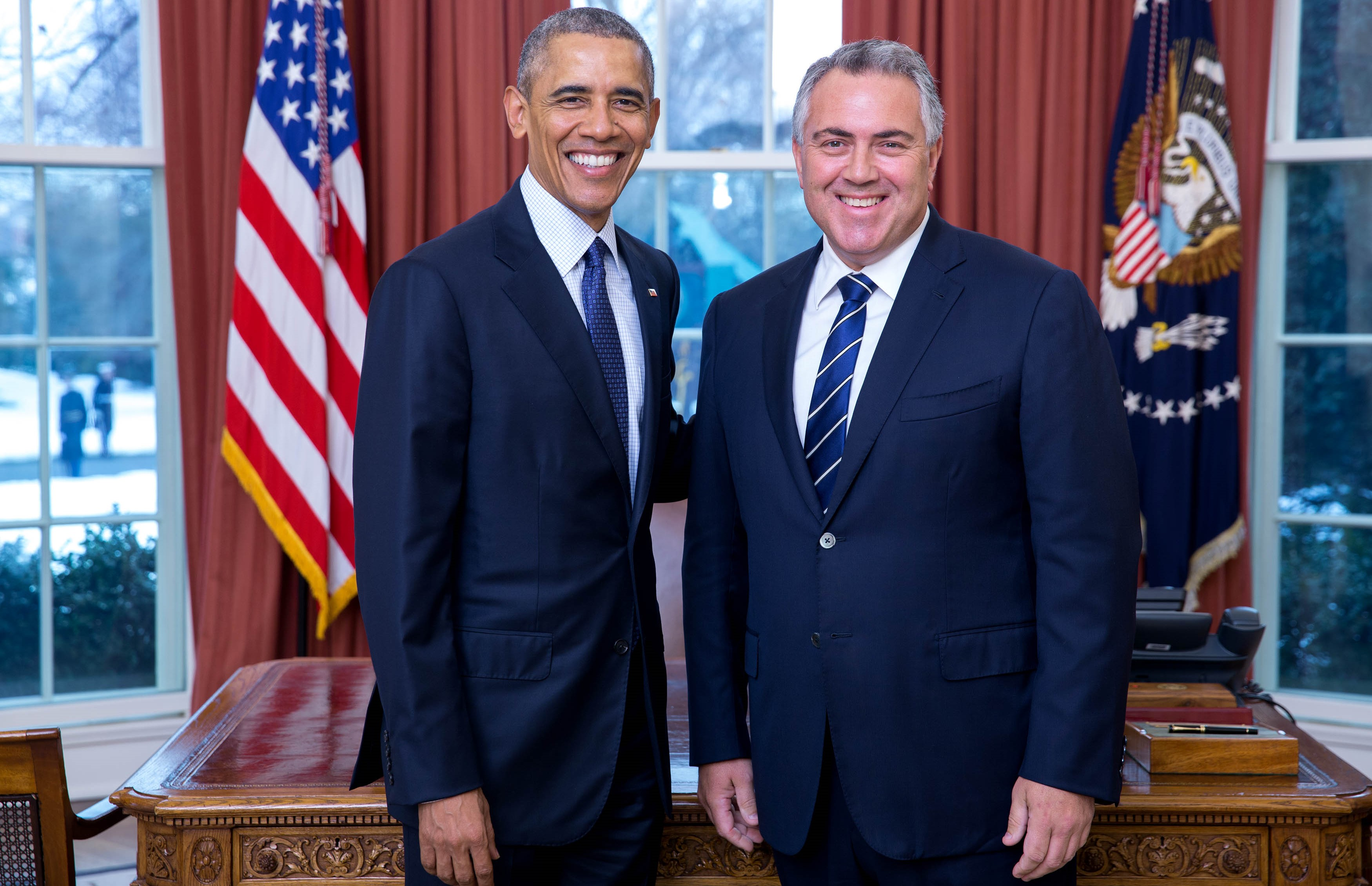 Ambassador Joe Hockey presenting his credentials to then-US President Barack Obama, 2016 (Photo: DFAT)