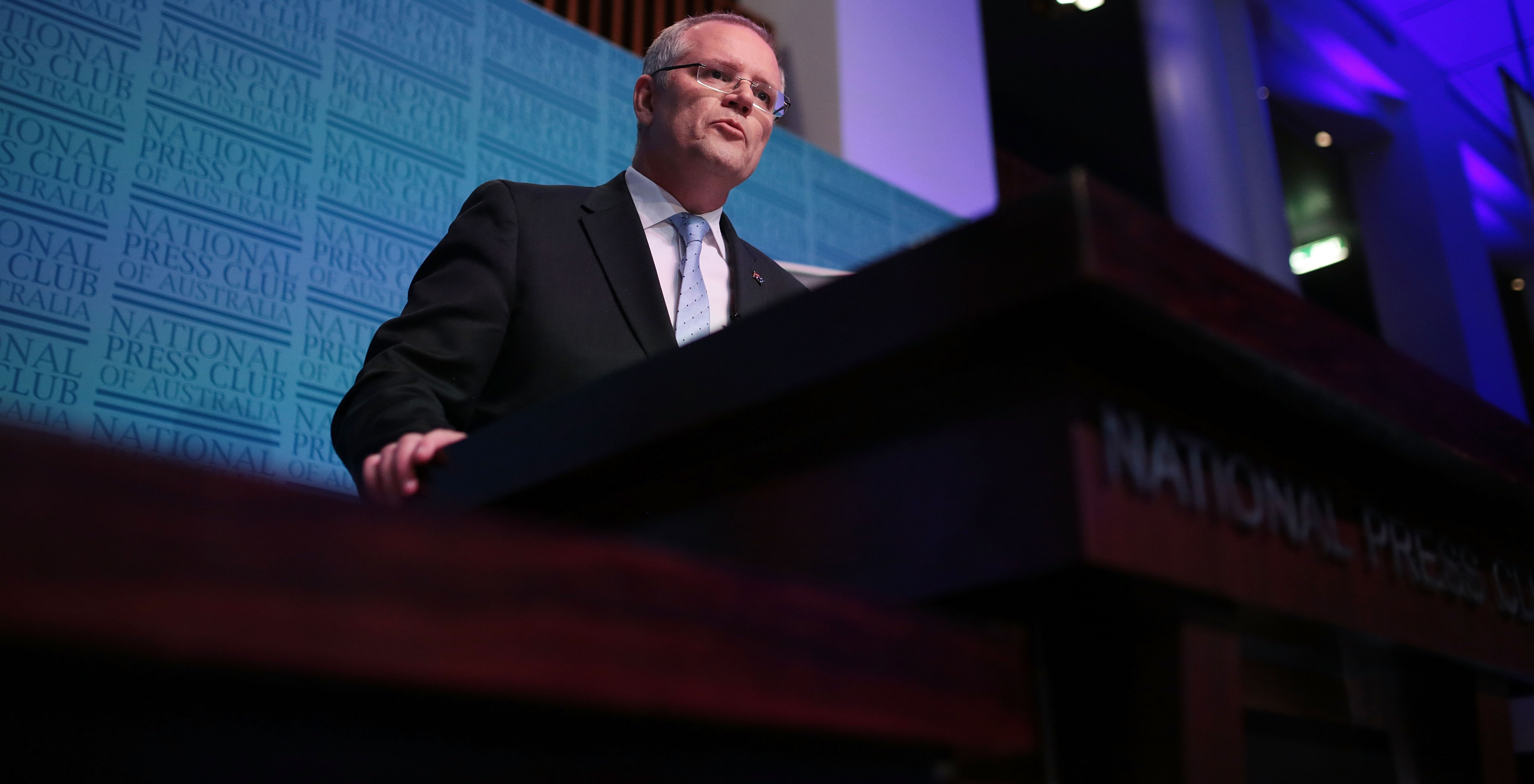 Treasurer Scott Morrison delivers his post-budget address at the National Press Club, May 2017 (Photo: Getty Images/Stefan Postles)