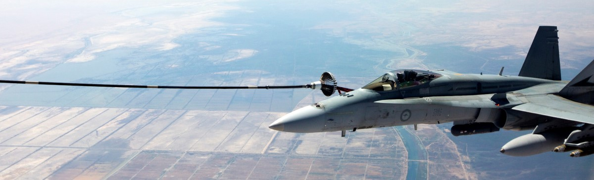 An Australian F/A-18 refuels somewhere over the Middle East, 2016. Photo: Commonwealth of Australia/Department of Defence/CPL Nicci Freeman