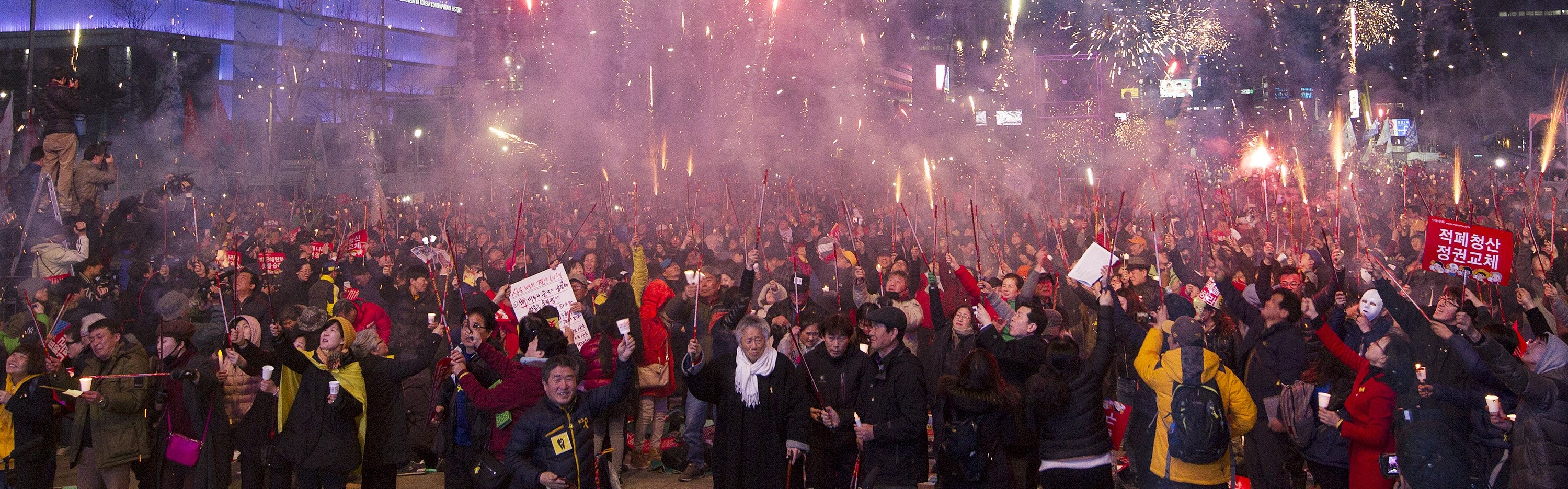Demonstrators celebrate the impeachment of South Korea's President Park Geun-hye, March 2017 (Photo: Getty Images/Anadolu Agency)