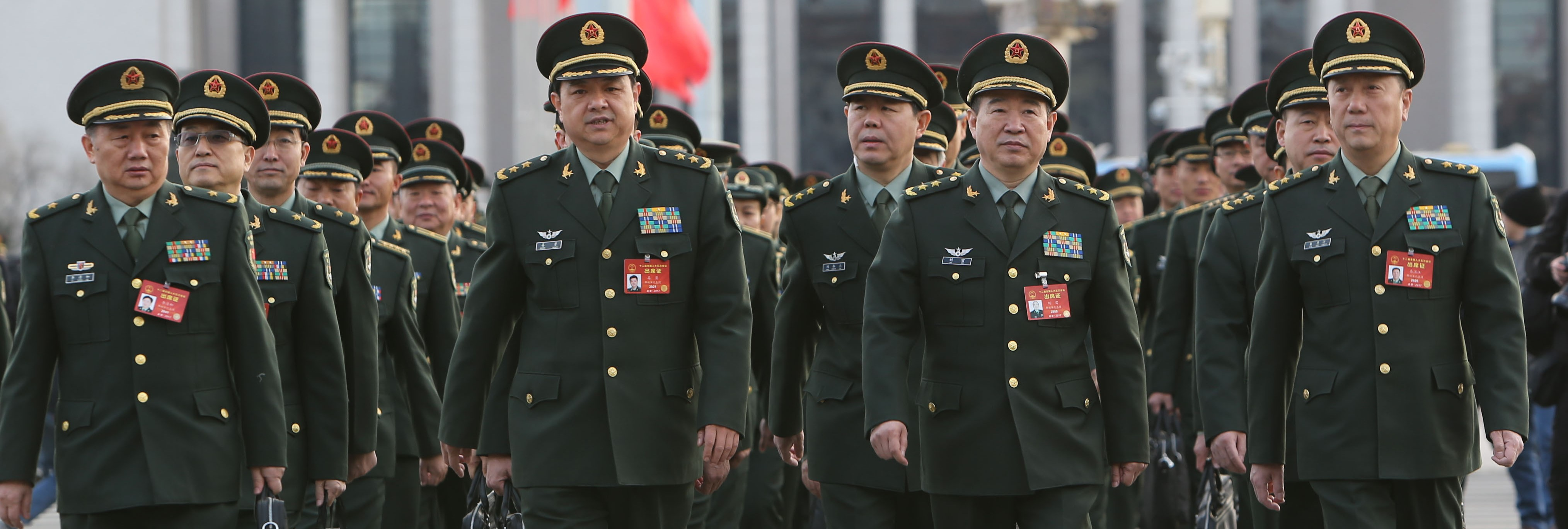 People's Liberation Army delegates arriving at the Great Hall of the People to attend the National People's Congress, March 2017 (Photo: Getty Images/VCG)