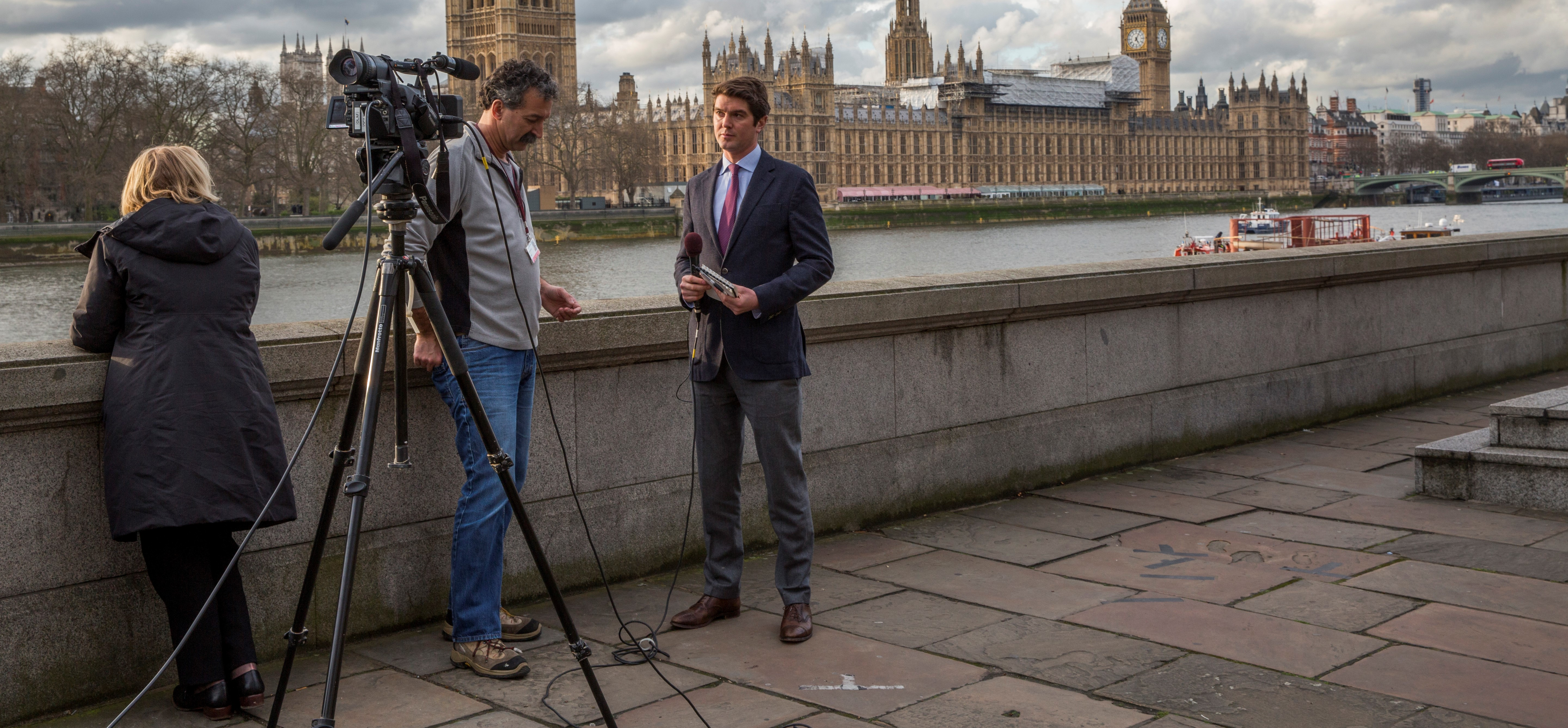 A news crew across the Thames from the Houses of Parliament. Misinformation in the media was rife in the immediate aftermath of the Westminster attack (Getty images/Kashfi Halford/Barcroft Images)