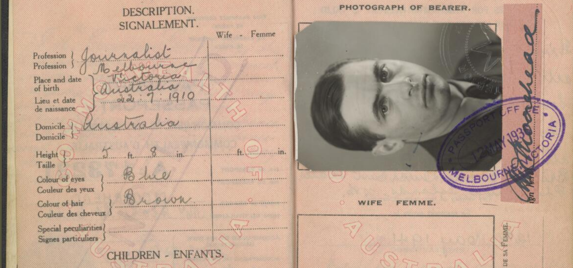 The passport of Australian war reporter Alan Moorehead, circa 1936 (Photo: National Library of Australia)