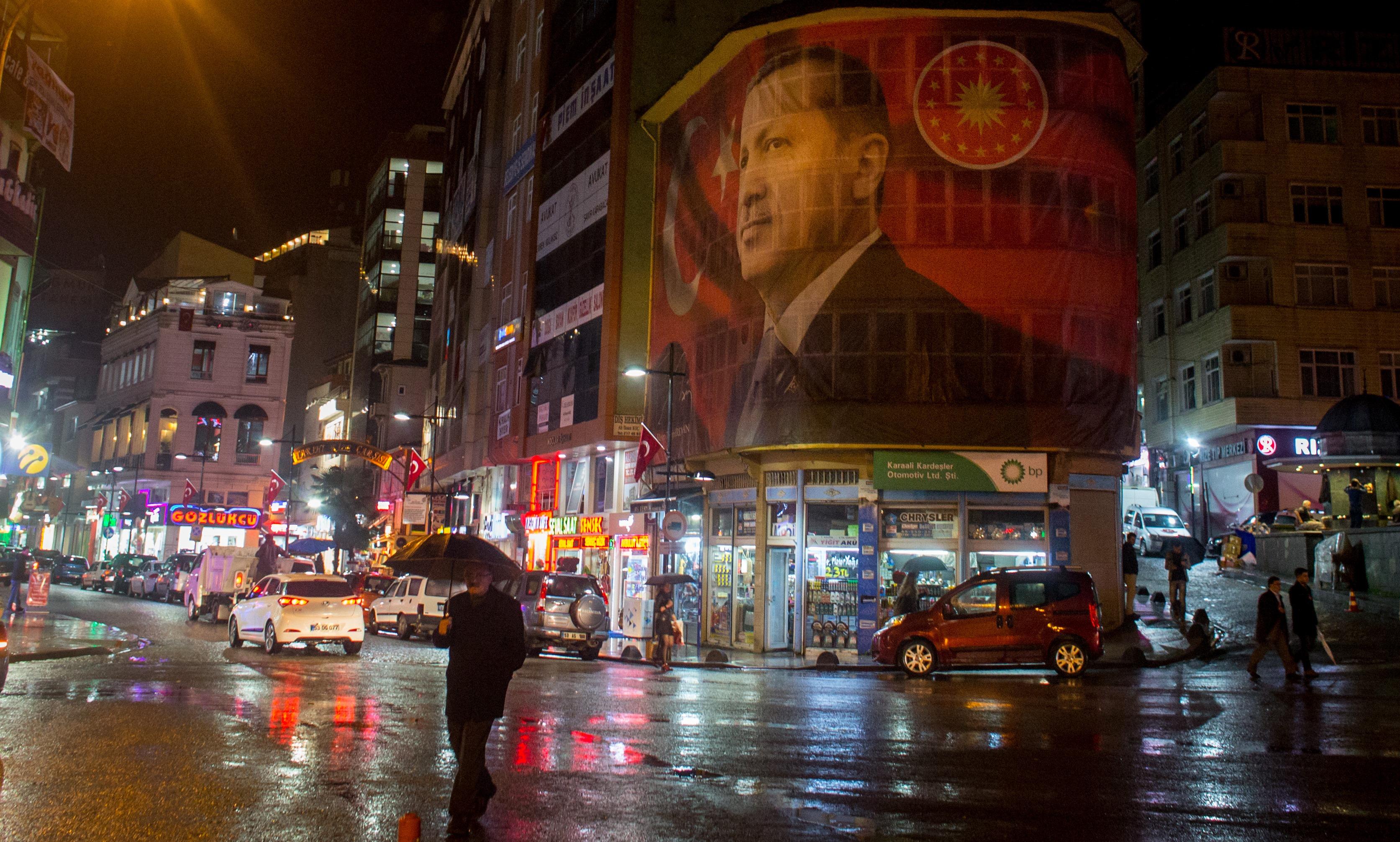 Poster of Turkish President Recep Tayyip Erdogan in Rize, Turkey. (Chris McGrath/Getty)