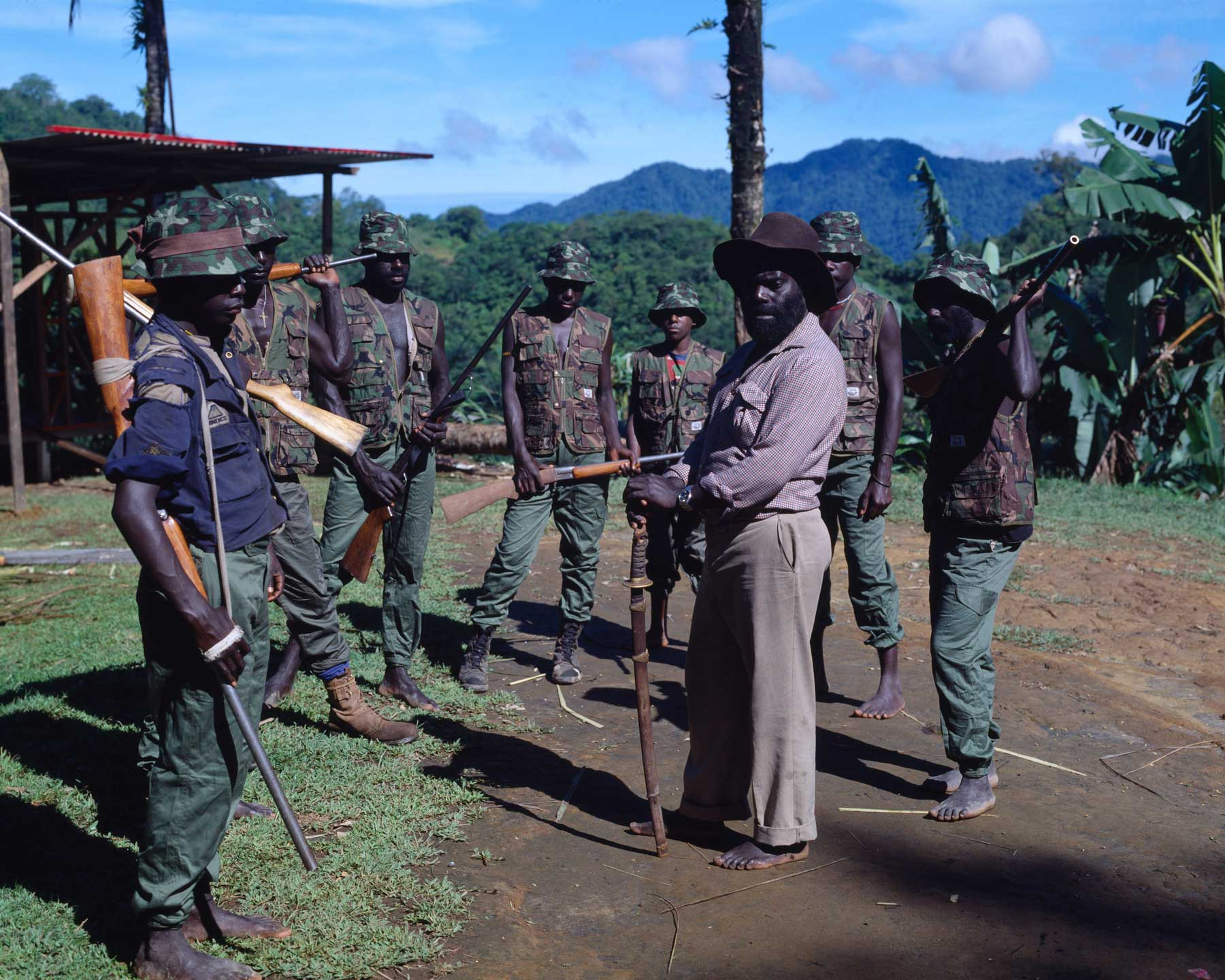 Bougainville Revolutionary Army leader Francis Ona (third from right) with a group of BRA guerrillas at Guava village above the Panguna mine, 1994