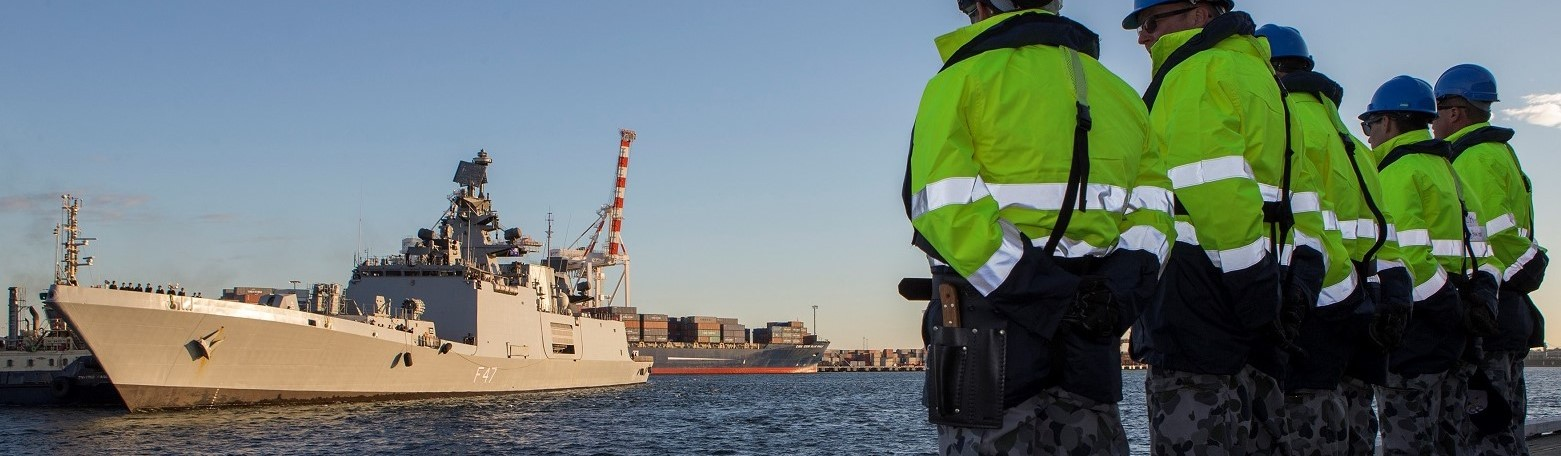 INS Shivalik comes alongside the Port of Fremantle as a part of Exercise AUSINDEX (Photo: Aust Defence Image Library)