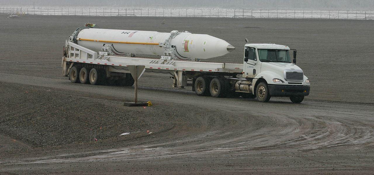 A US Ground-Based Interceptor missile. (Wikimedia Commons.)