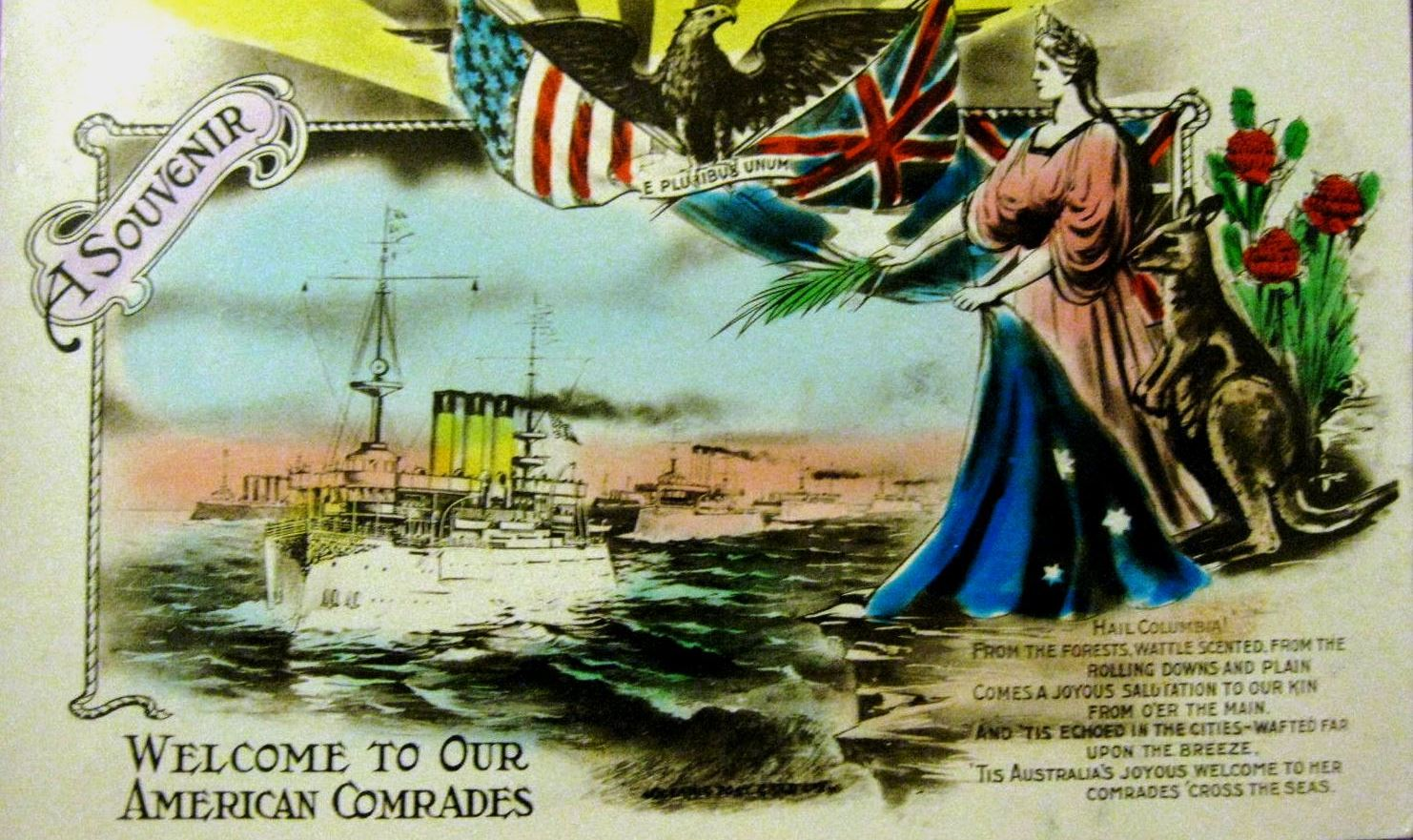 Souvenir marking the visit of the US 'Great White Fleet' to Australia, 1908. (Flickr/Aussie-mobs)