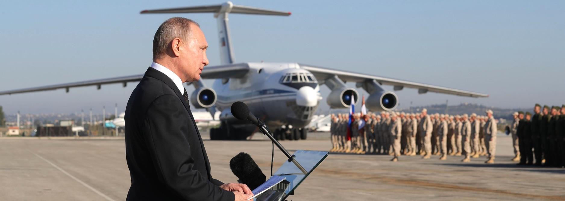 Russia's Vladimir Putin at Khmeimim air base in Syria on Monday (Photo: Kremlin.ru)