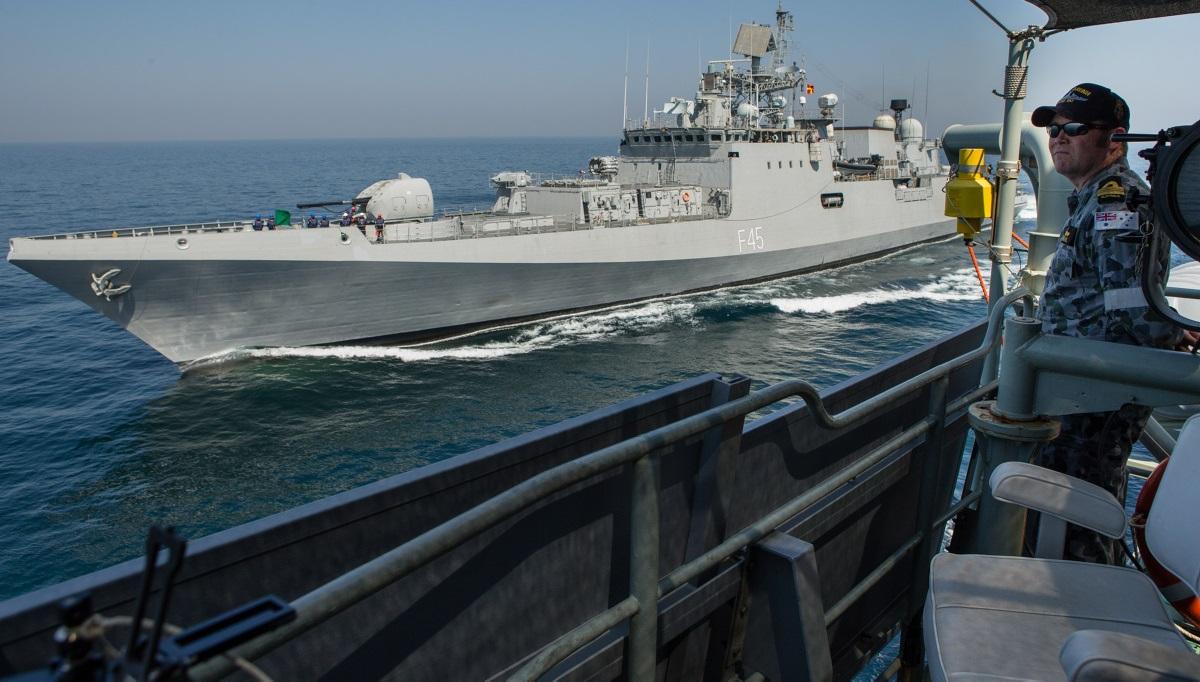 HMAS Arunta alongside INS Teg off the coast of Goa, India, 2016. (Image courtesy of Defence)