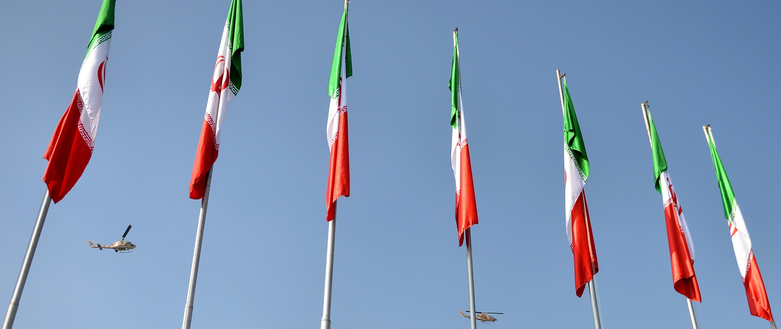 Flags in front of the Mausoleum of Ayatollah Khomeini in Tehran, Iran. (Photo: Fatemeh Bahrami/Getty Images)