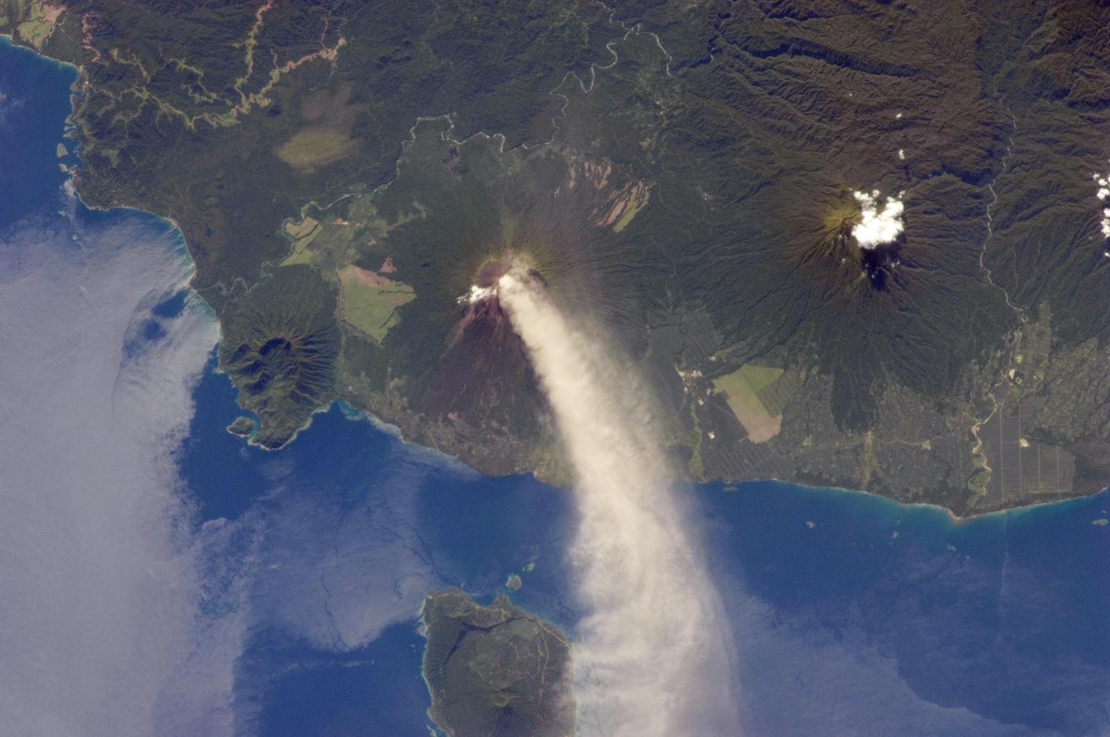 """Holy smokin toledo"" as YouTube made famous about eruptions in PNG - Mt Ulawun during a 2012 eruption (Photo: NASA)"