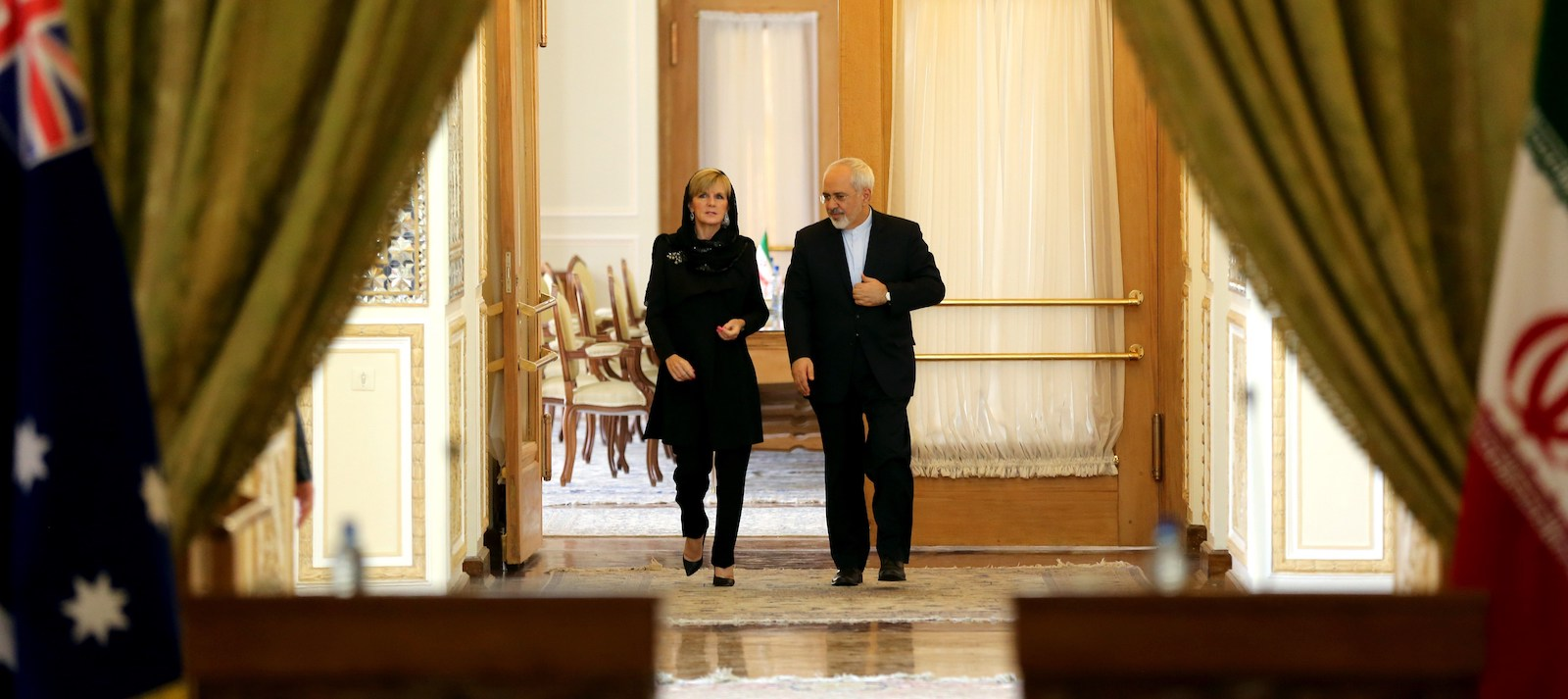 Australian Foreign Minister Julie Bishop and Iranian Foreign Minister Mohammad Javad Zarif in Tehran in 2015 (Photo: Atta Kenare/Getty)