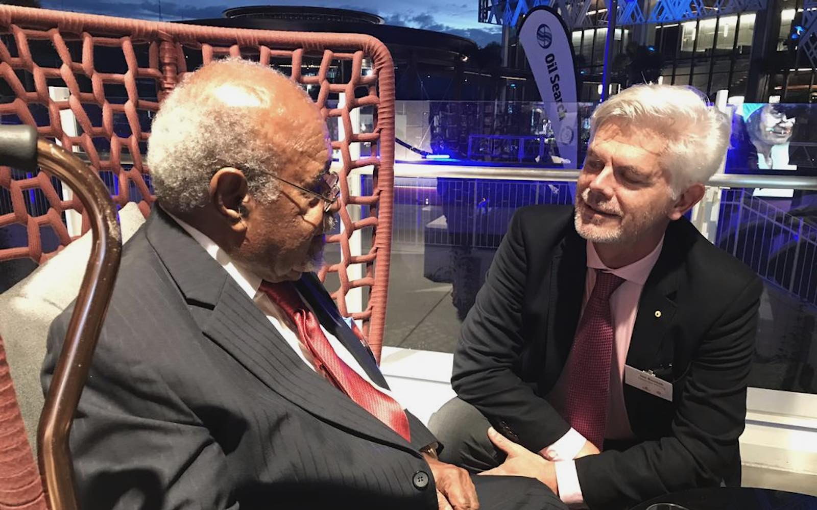 Sir Michael Somare (left) and Ian Kemish in Port Moresby, 2019 (Author provided)