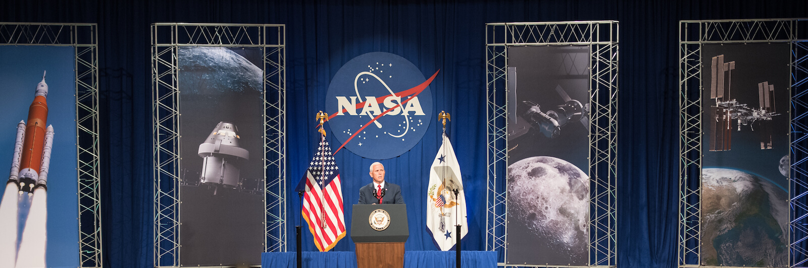 Vice President Mike Pence speaks at NASA's Johnson Space Center in Houston, Texas (Photo: NASA/Joel Kowsky)