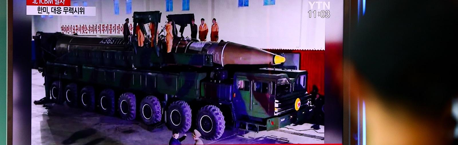 A news broadcast on North Korea's ballistic missile launch at Seoul Station last week (Photo: SeongJoon Cho/via Getty Images).