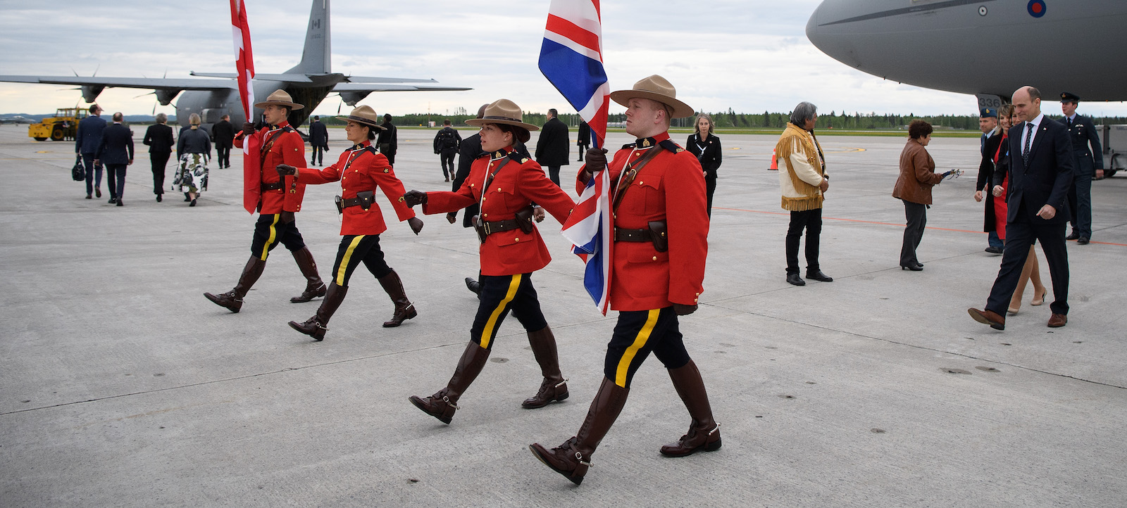 Canadian mounted police carry the Union and Canadian flags ahead of the G7 Summit in Saguenay, Canada (Photo: Leon Neal/Getty)