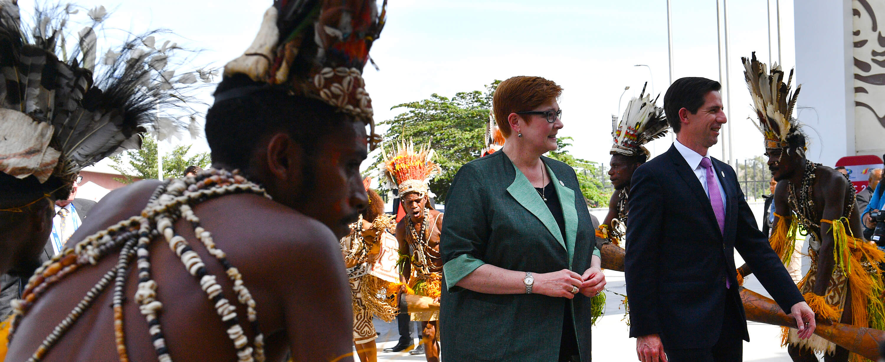 Australia's Foreign Minister Marise Payne and Trade Minister Simon Birmingham arrive at the APEC ministerial meeting in Port Moresby. (Photo:Saeed Khan/Getty)