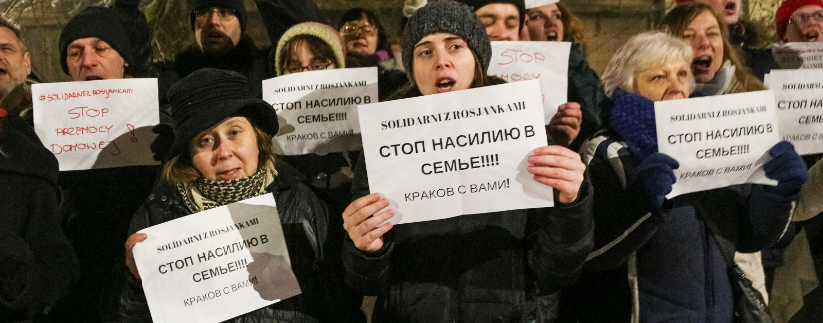 A Polish protest against domestic violence outside the Russian Consulate in Krakow (Photo: Beata Zawrzel/Getty Images)