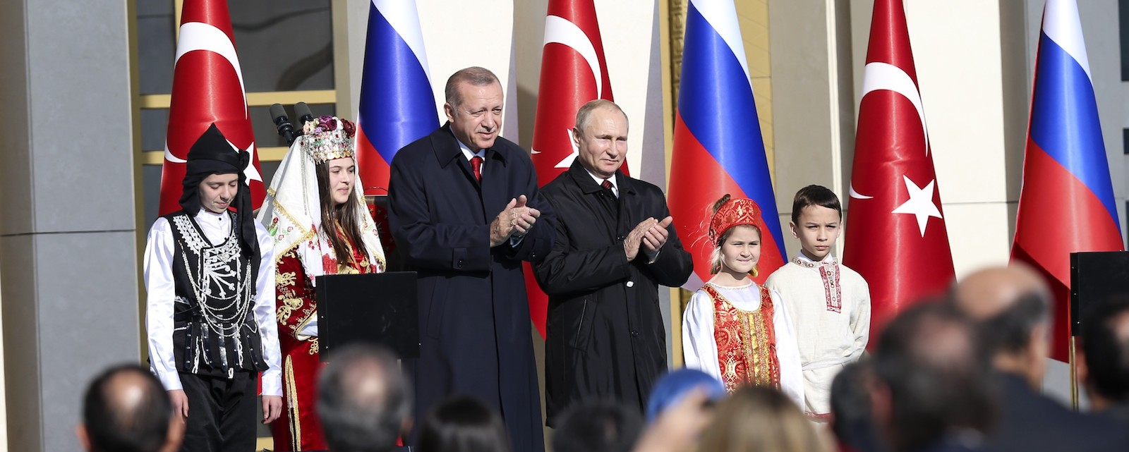 Turkish President Recep Tayyip Erdogan and Russian President Vladimir Putin attend the Akkuyu Nuclear Power Plant groundbreaking ceremony (Photo Murat Kula/Getty)