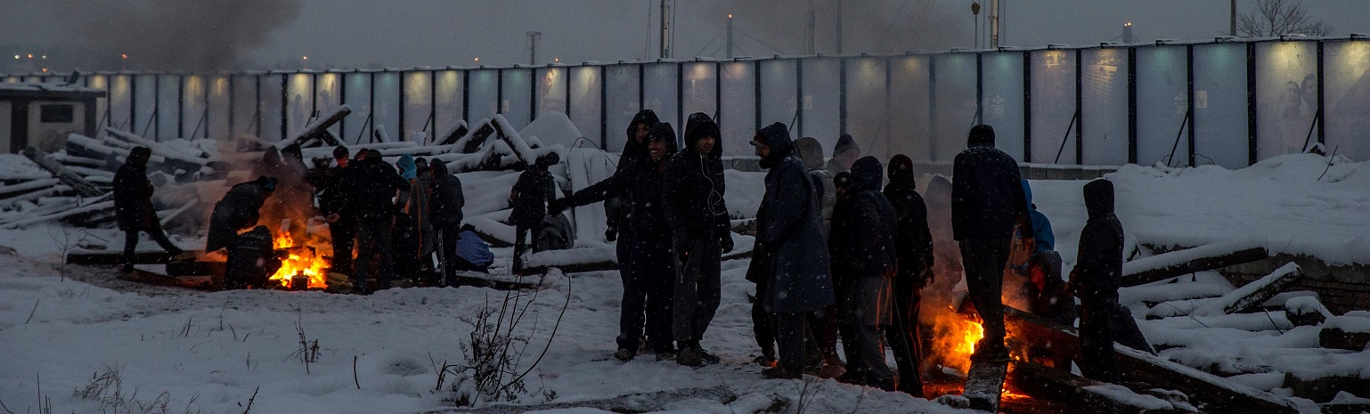 Refugees in freezing Belgrade this week (Photo: Josep Vecino//Getty Images)