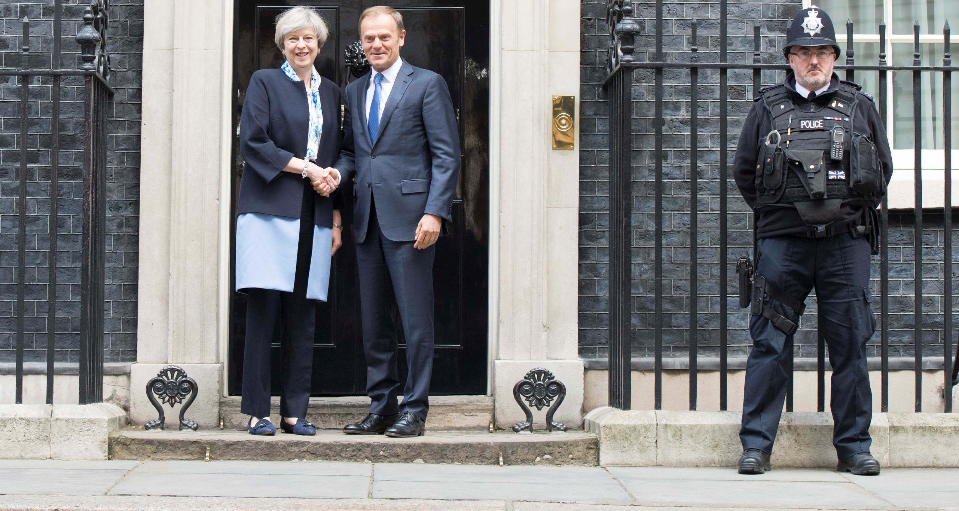 Prime Minister Theresa May with EU President Donald Tusk on 6 April. (Flickr/Number 10)