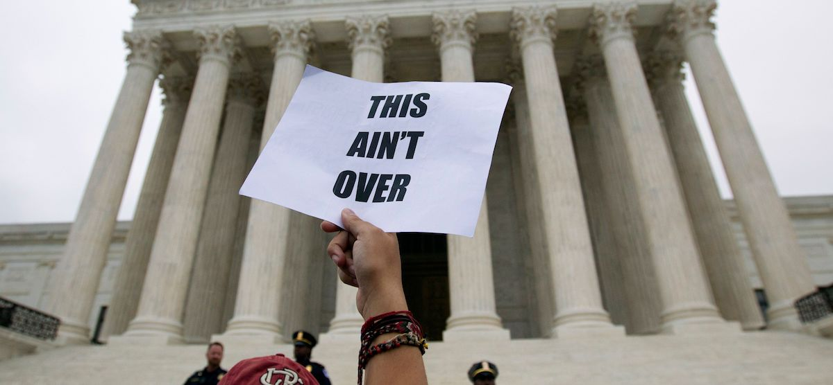 Protest at the US Supreme Court against the appointment of Brett Kavanaugh (Photo: Jose Luis Magana via Getty)