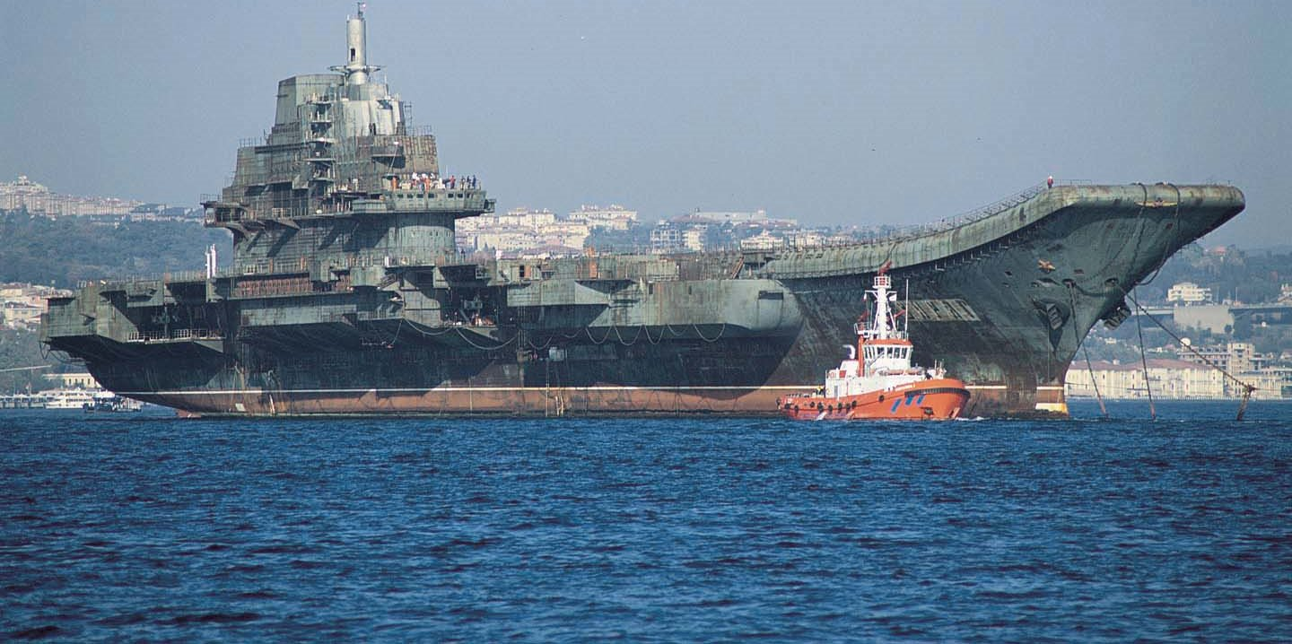 The unfinished ex-Soviet aircraft carrier Varyag under tow in Istanbul en route to China, 2001. (Wikipedia)